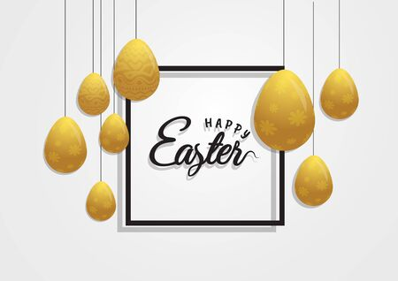 Happy Easter background with realistic golden decorated eggs and cute doodles. Greeting card trendy design. Invitation template