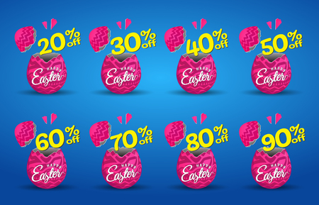 Vector icons broken easter egg. pink discount  label, banner, tag. Vector Illustrations.