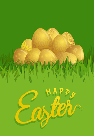 Happy Easter Day. Golden eggs composition Çizim