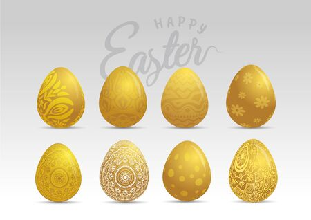 Gold easter eggs with patten set. Vector illustration.