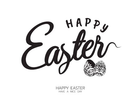 Happy Easter lettering card. Hand drawn lettering poster.