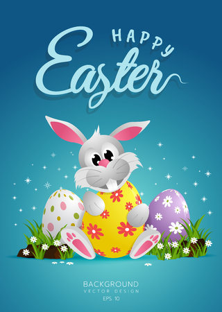 Happy Easter Day bunnies and egg. Wide copy space for text. Çizim