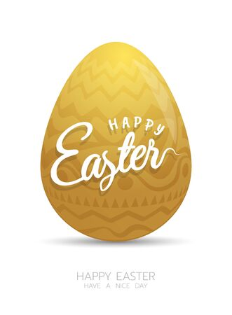 Realistic golden Easter egg isolated on white background. Çizim