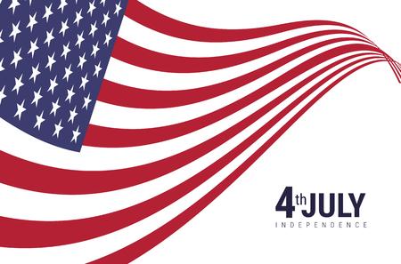 Bandera americana con el día de la independencia americana 4 de julio Ilustración de vector