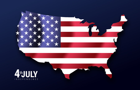 map of American USA with waving flag in background, united states of america, stars and stripes. Independence day 4th july