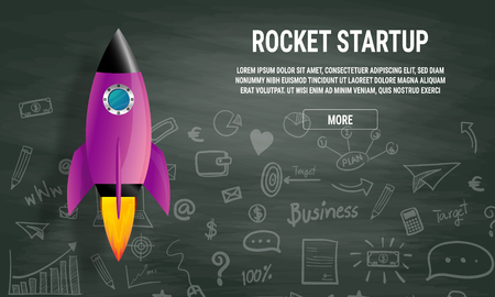 Startup business idea concept. Rocket ship in a flat vector