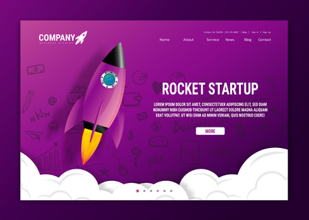 Website landing home page with rocket. Business project startup and development modern flat background. Mobile web design template. Web banner design. Startup concept. 向量圖像