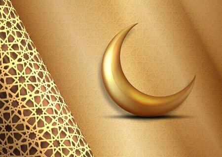 golden Ramadan Kareem greeting card design. Golden hanging Ramadan lanterns. Islamic celebration. arabian background