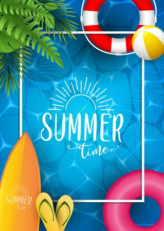 Summer sea poster. Vector illustration with deep underwater ocean scene. Background with realistic clouds and summer 3d text
