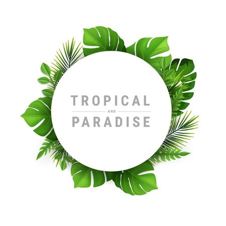 Tropical and paradise Vector Illustration with place for your text. Exotic Plants Background, Frame Design with Leaves