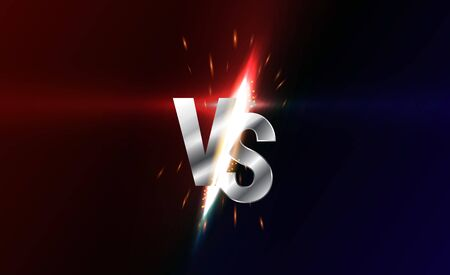 Versus screen. Vs battle headline, conflict duel between Red and Black teams. Confrontation fight competition. Boxing martial arts fighter match