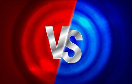 Versus screen. Vs battle headline, conflict duel between Red and Blue teams. Confrontation fight competition. Boxing martial arts fighter match