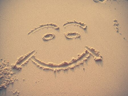 similan islands: Smiling Face on Sand - Similan Islands, Thailand Stock Photo