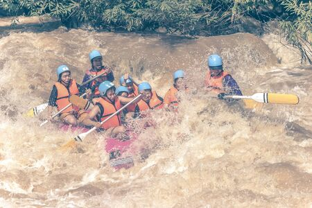 PHITSANULOK, THAILAND - AUGUST 21: Rafting on the river Khek on August 21, 2005 in Phitsanulok. The Khek river has difficulty level 4-5.