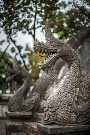 exquisite fairy: Temple Banister of The Great Serpent - Luang Prabang, Laos Stock Photo