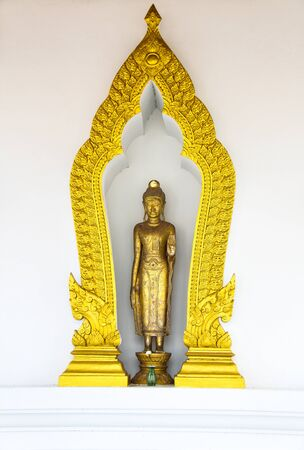 thani: Buddha Statue in golden arch frame - Surat Thani, Thailand