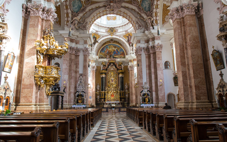 STEINGADEN, GERMANY - OCTOBER 22: Interior of Wieskirche church show fresco painting on October 22, 2013 in Steingaden. Wieskirche is an oval Rococo church, designed in the late 1740s by Dominikus Zimmermann.
