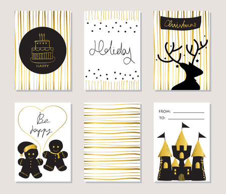 Light gold love christams greeting card with ginger bread