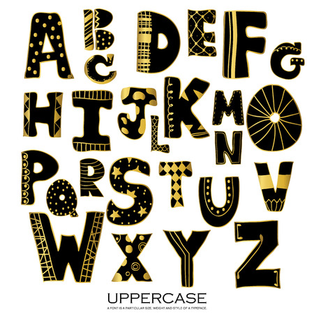 uppercase: Black gold chalk pencil alphabet uppercase letters.Hand drawn written with stripe and polka dot style