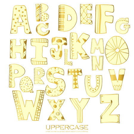 uppercase: Light gold chalk pencil alphabet uppercase letters.Hand drawn written with stripe and polka dot style