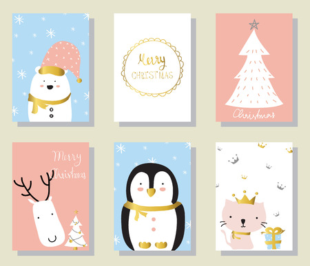 christams: Light pink blue love christams greeting card with cat penguin and gift box