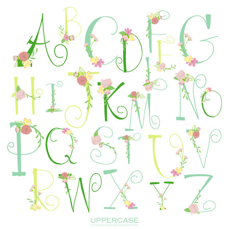 black and pink: Black pink green colorful ink alphabet letters.Hand drawn written