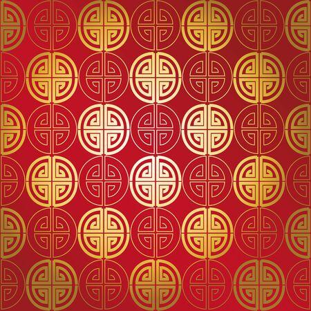 chinese pattern: Red gold seamless geometric chinese pattern Illustration
