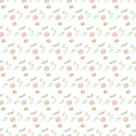 pink and green: Light pink green bouquet seamless pattern background