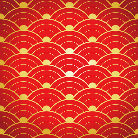 red and gold: Red gold seamless geometric chinese pattern Illustration