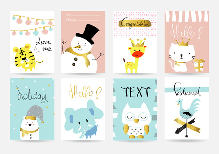 crown of light: Light pink blue collection for banners, Flyers, Placards and Posters with bear,cat,rabbit,giraffe,tiger,hen, crown and gift box Illustration