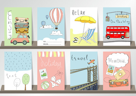 brooklyn bridge: Light pink blue collection for banners, Flyers, Placards with brooklyn bridge, balloon, world traveling on airplane, planning a summer beach vacation, tourism and journey objects and passenger luggage
