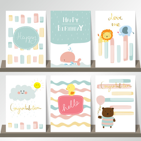 Light pink blue collection for banners, Flyers, Placards with lion,whale,bear,duct and elephant