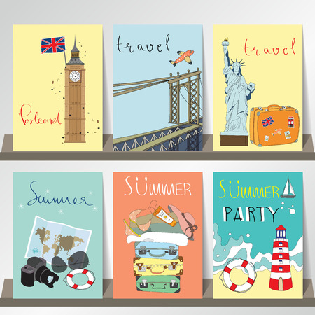 brooklyn bridge: Light pink blue collection for banners, Flyers, Placards and Posters with Statue of Liberty,Big Ben and Brooklyn Bridge Illustration