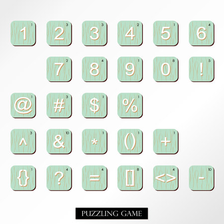 puzzling: White blue brown lowercase font