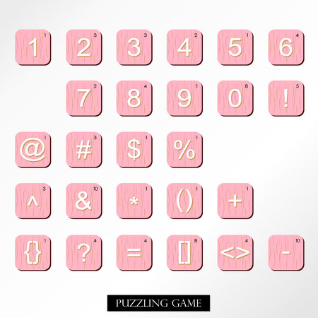 puzzling: Pink wood tile alphabet for puzzling words games