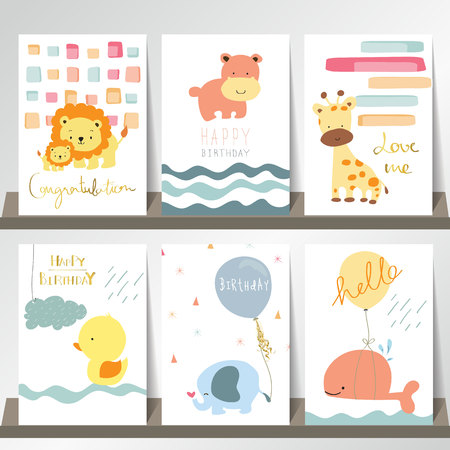 Light pink blue collection for banners, Flyers, Placards with lion,whale,giraffe,hippo,duct and elephant
