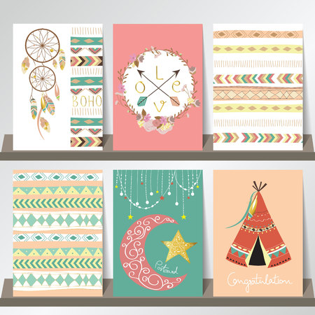 Light green gold pink card template in boho style on summer with arrow,moon,tent,feather and indian hat Иллюстрация