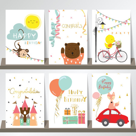 Light pink blue green collection for banners, Flyers, Placards with fox,duck,cat,monkey,car and castle Иллюстрация
