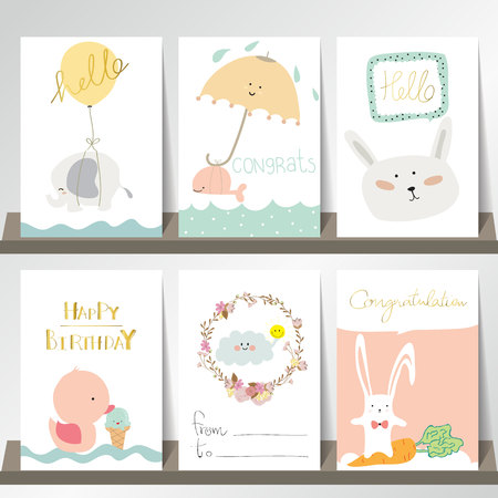 duct: Light pink blue collection for banners, Flyers, Placards with ice cream,cloud,whale,carrot,rabbit,duct and elephant Illustration
