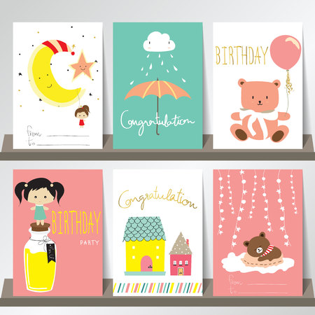 balloon girl: Light green yellow pink collection for banners, Flyers, Placards with house,balloon,girl,bear and moon Illustration