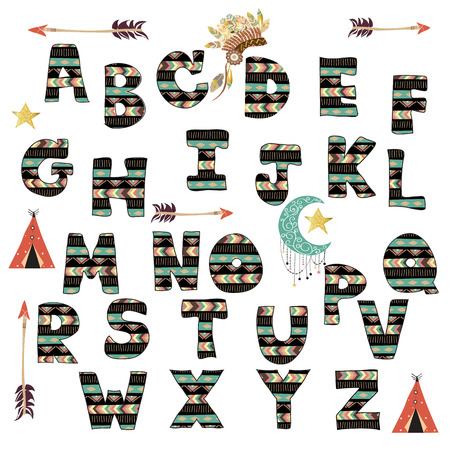 expressive style: Green black colorful ink alphabet letters.Hand drawn written in boho style