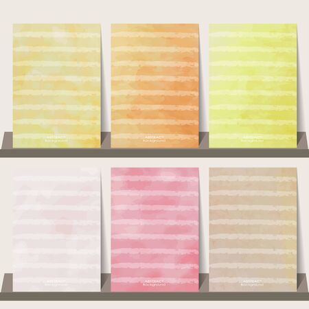 watercolor paper: Light pink,orange,yellow watercolor collection background for  and Placards in summer Illustration