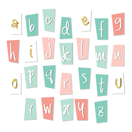 Cute Pink Blue Gold Alphabet Type Letters Numbers Design Elements