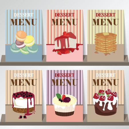 portadas de libros: Diseño del menú del postre con arándanos tarta de queso, pastel, pastel de fresa y macarrón Vectores