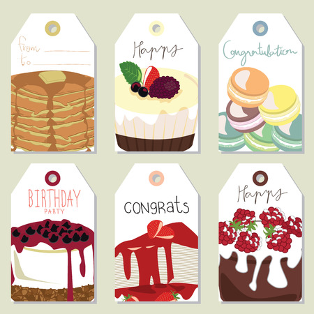 strawberry cake: Light gold pink tag with blueberry cheese cake,pie,strawberry cake and macaron Illustration