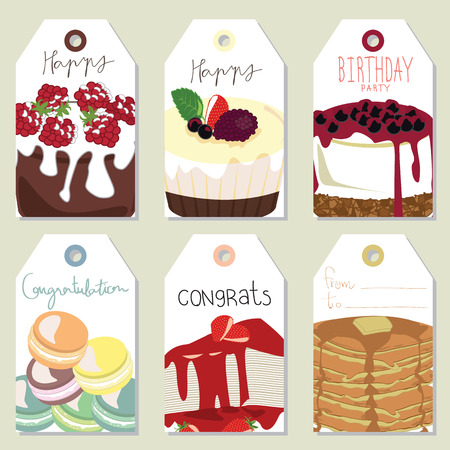 cheese cake: Light gold pink tag with blueberry cheese cake,pie,strawberry cake and macaron Illustration
