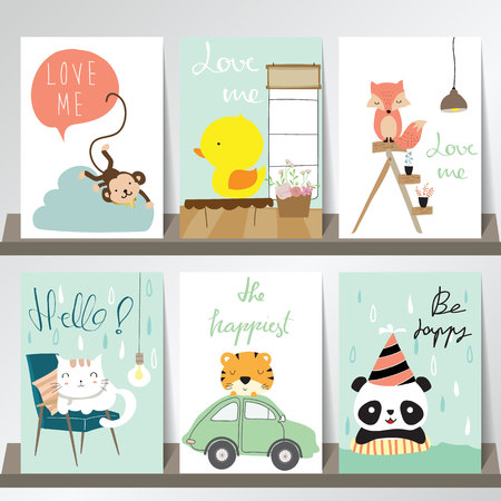 Colorful collection for banners,Flyers,Placards with fox,monkey,cat,panda,duck and tiger