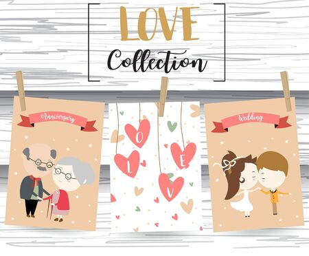 grandparent: Pink love collection for banners,Flyers,Placards with grandparent,man,woman and heart on valentines day
