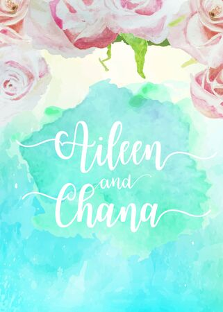 Wedding template collection for banners,Flyers,Placards with pink rose,flower,boutique in blue paint watercolor style