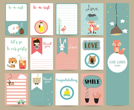 Pink blue collection for banners,Flyers,Placards with tiger,bear,tree,fox,sheep and flamingo